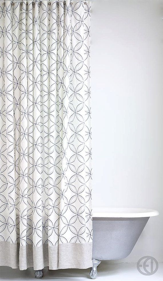 Extra Long Linen Shower Curtain With Geometric Pattern And Banding