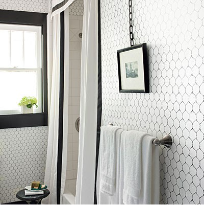 kinda looks like hex tiles on the wall, or chicken wire wallpaper. I ...
