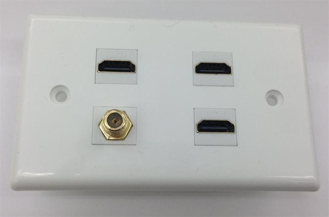Ethernet And Coax Wall Plate Entrancing 3 Port Hdmi 14 With Ethernet  1 Port Ftype Coax Cable Tv Catv 2018