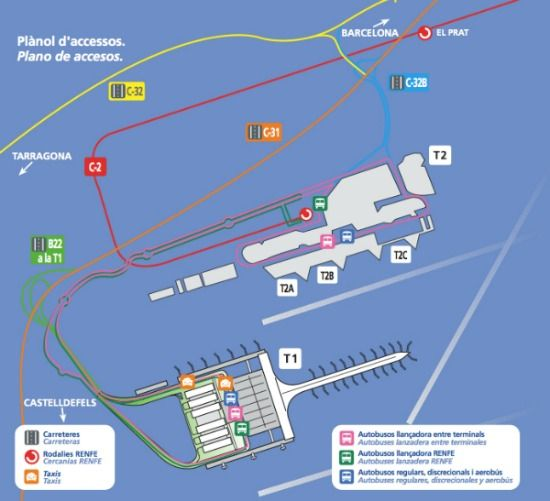 Barcelona Airport Map Showing T1 And T2 Services