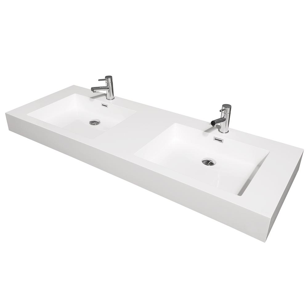 Wyndham Collection Amare 60 In W X 21 75 In D Resin Double Basin