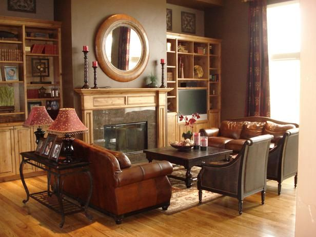 Fall Color Trends  Chocolate Brown Walls Wood Bookshelves And Impressive Brown Living Room Design Decorating Design