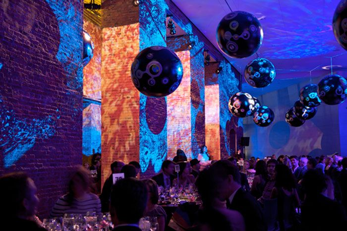 """BROOKLYN MUSEUM'S """"BROOKLYN BALL"""" For their annual 2008 gala, extensive lighting effects were mixed with video projection to create a totally immersive environment.2008 Brooklyn Ball 