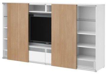 Besta Inreda Tv Storage Combo With Sliding Doors Modern Media Storage Tv Verbergen Onder Kast Woonkamerkasten