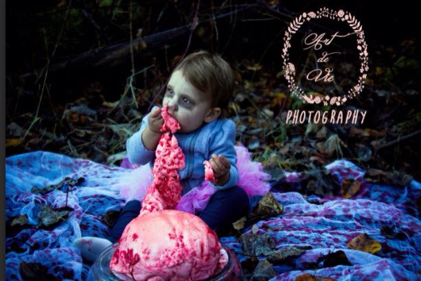 Halloween cake smash first birthday brain baby girl girl