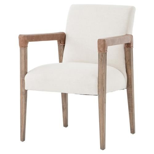 Rattan Dining Chairs Arm Chair, White Linen Dining Room Chairs