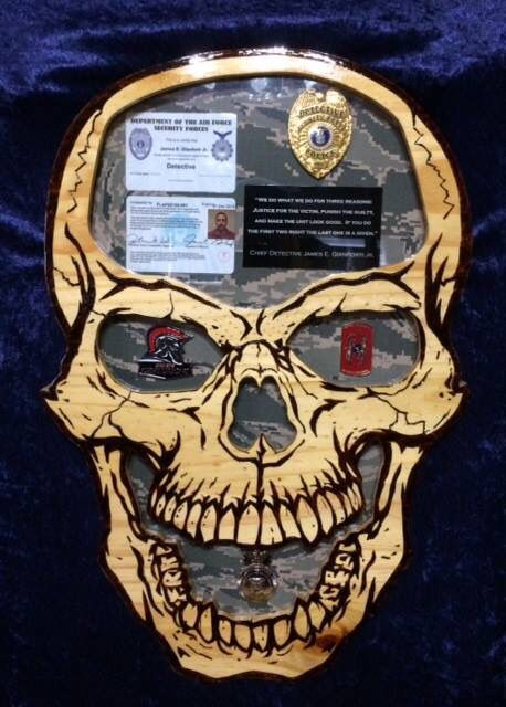 Detective / Police Skull shadow box Questions on design or price contact Lunawood1775@gmail.com