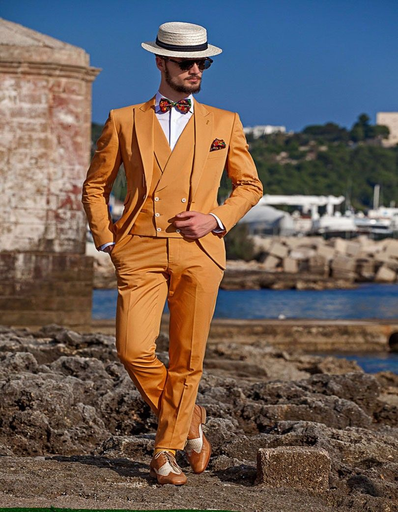 Click To Buy Latest Coat Pant Designs Orange Yellow Double Breasted Slim Fit Men Suit 3 Piece Tuxedo Bea Dress Suits For Men Prom Suits Wedding Suits Men [ 1040 x 810 Pixel ]