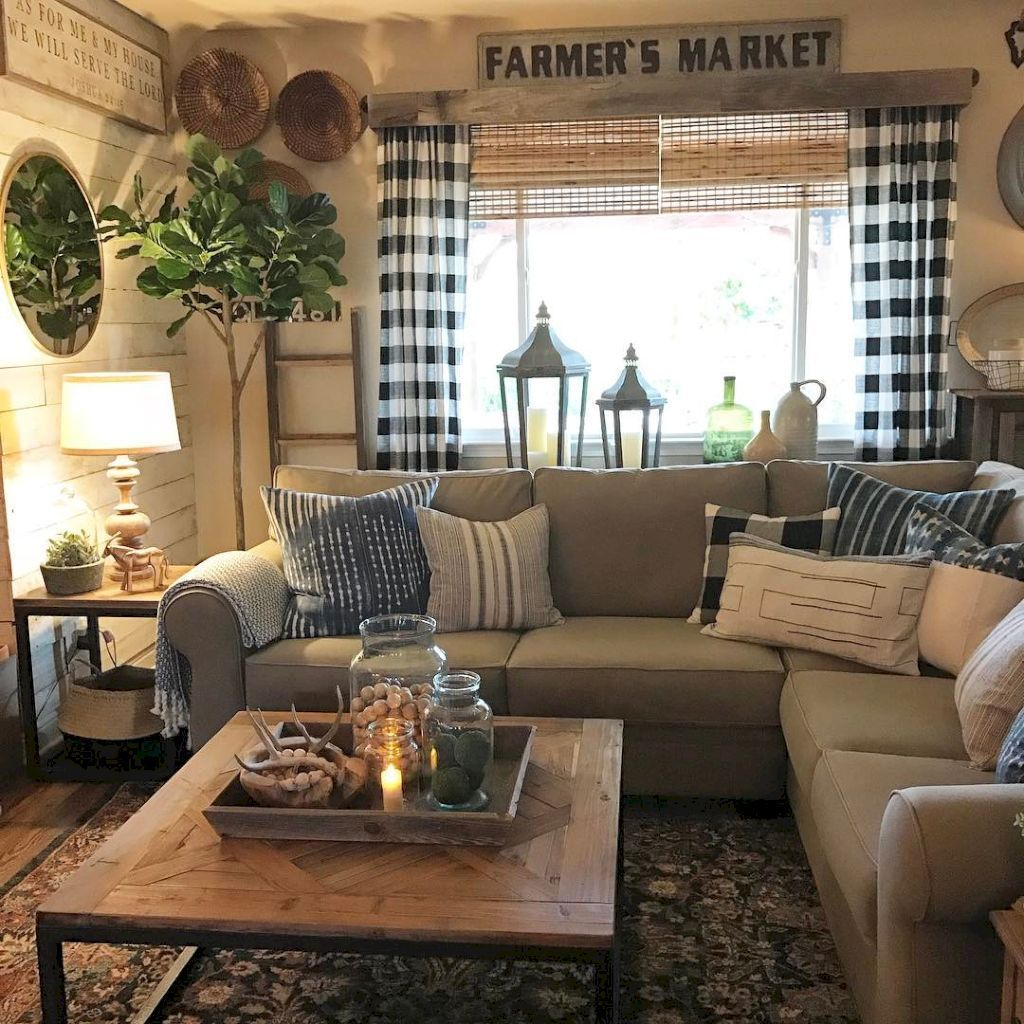 Gorgeous rustic farmhouse living room decor ideas