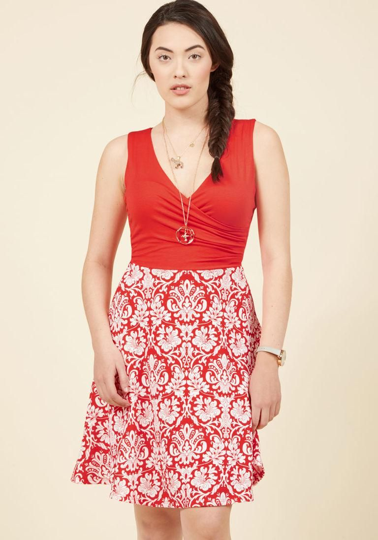 ModCloth - ModCloth State of the Art Class A-Line Dress in Damask in ...