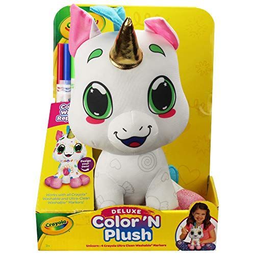 """crayola 12"""" deluxe color 'n plush unicorn  draw wash re"""