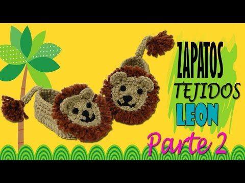 Zapatitos de león tejidos a crochet    parte 2/2 - YouTube