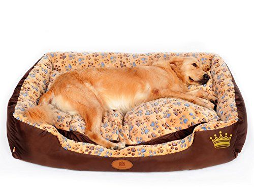 Pls Paradise Bolster Dog Bed With Pillow Extra Large 35wx47l Paw Print Edition Well Padded Completely Removable Cover Zipper Machine Washable