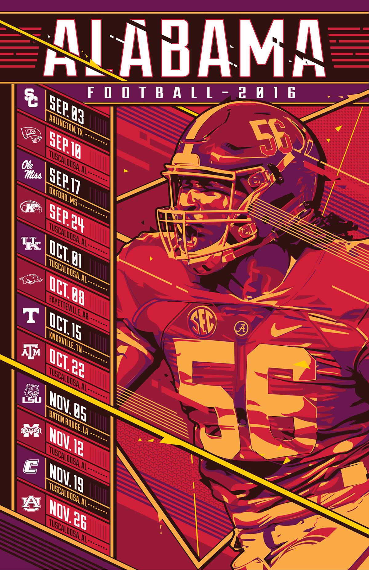 Alabama Football 2016 Schedule On Behance Sports Design