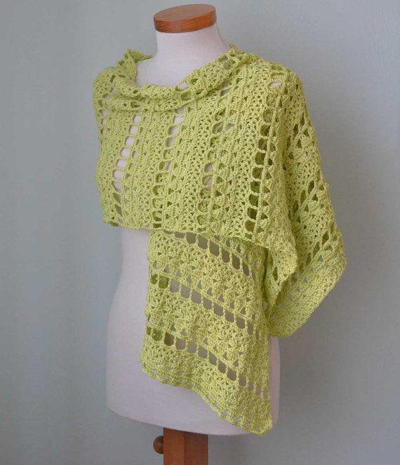 Crochet shawl scarf lime greenlace cotton G722 by Berniolie