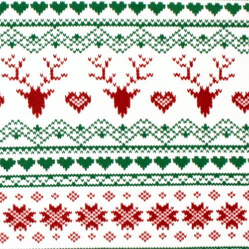 Traditional Fair Isle Deer Heart Cotton Spandex Knit Fabric ...