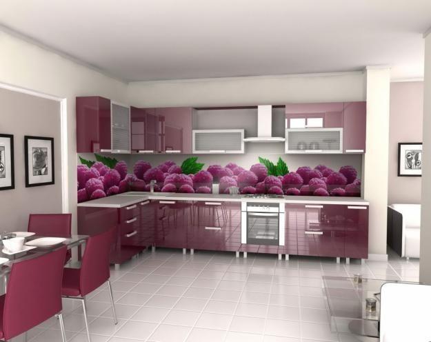 colorful glass backsplash ideas adding digital prints to modern kitchen design - Kitchen Backsplash Modern