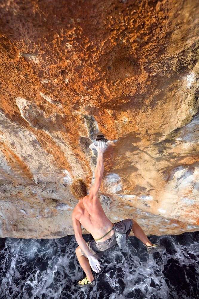 Chris Linder snags the jug on the route that started it all, Loskott and Two Smoking Barrels (5.13c).