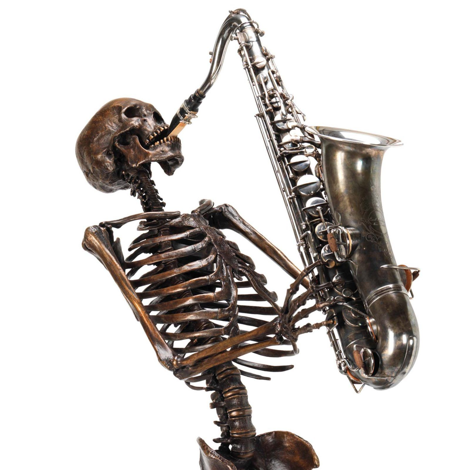 Nobody likes a fit of the blues bronze skeleton fine art