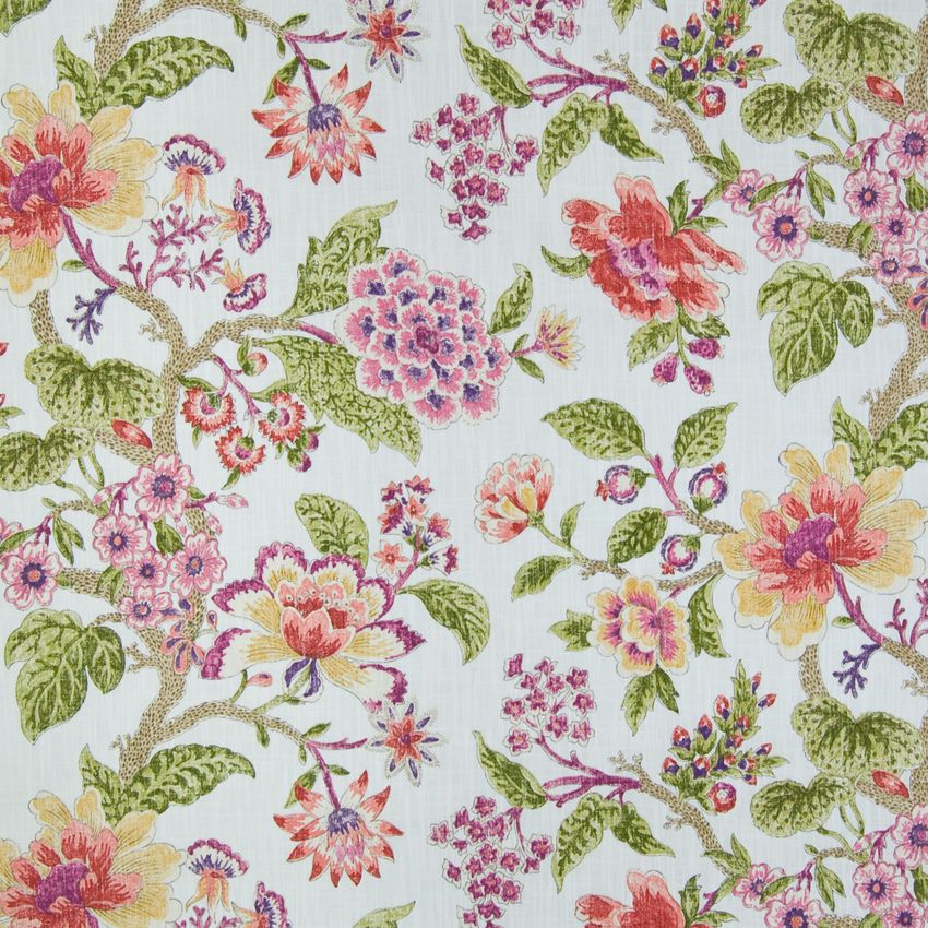 Marshmallow Pink And Purple Floral Cotton Upholstery Fabric