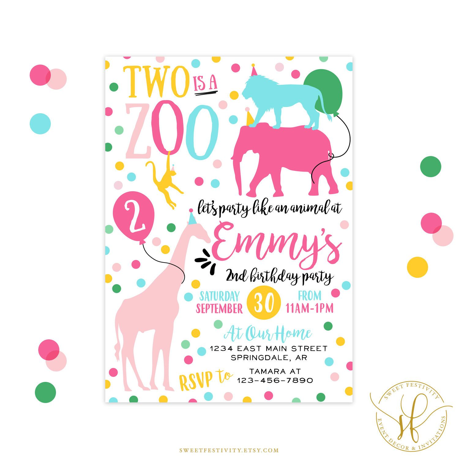 Party Animal Invitation | Party Like an Animal | Two is a Zoo ...
