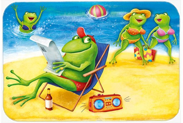 Frogs on the Beach Kitchen or Bath Mat 24x36 APH0080JCMT