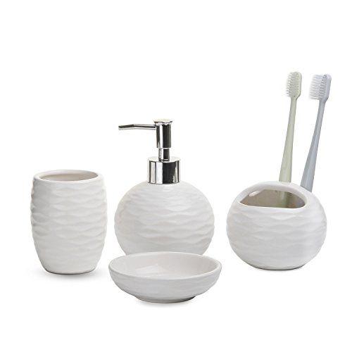 Comsaf Ensemble Accessoire De Toilette Blanc Ceramique Lot De 4