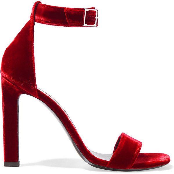 db0e235300c67 Saint Laurent Grace velvet sandals (990 AUD) ❤ liked on Polyvore featuring  shoes