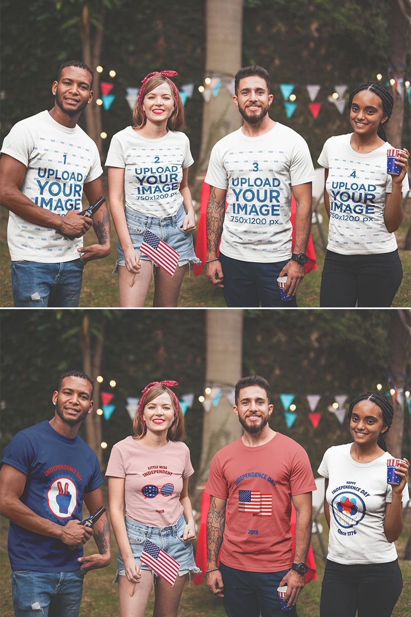 Download Placeit Interracial Group Of Four Friends Wearing Tshirts Mockup At A Bbq Party Clothing Mockup Hoodie Mockup How To Wear