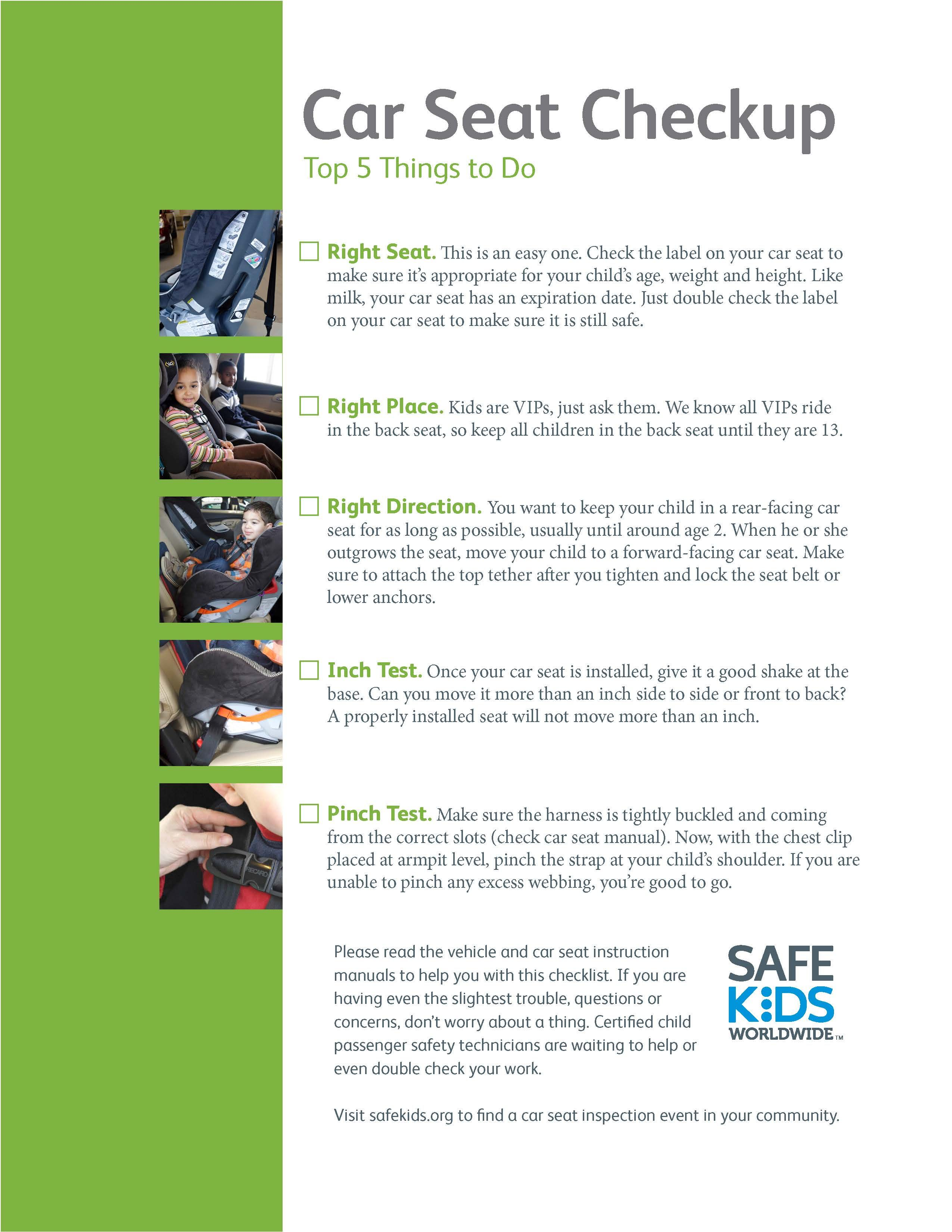 Car Seat Safety Checklist! Car seats, Child passenger