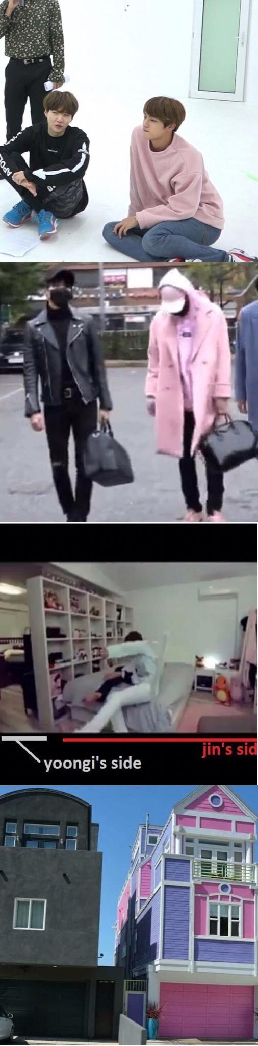 Black and Pink  BTS hyungs Suga and Jin