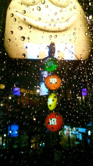 This is hard to see but this is the mnm shop in new york. Took this picture in a car on a rainy day so it didn't turn out well.