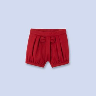 Bow-trimmed wool shorts - Girl - RUBY RED - Jacadi Paris