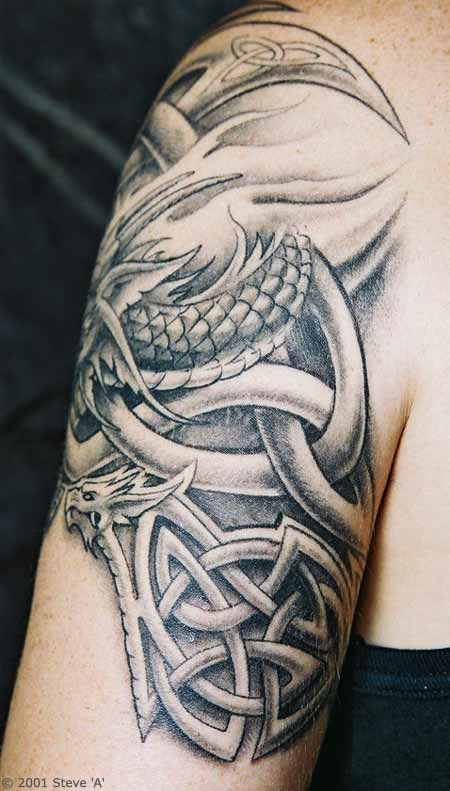 Awesome Celtic Dragon Tattoo Design On Upper Arm For Men Celtic Dragon Tattoos Celtic Tattoo Dragon Tattoo Arm