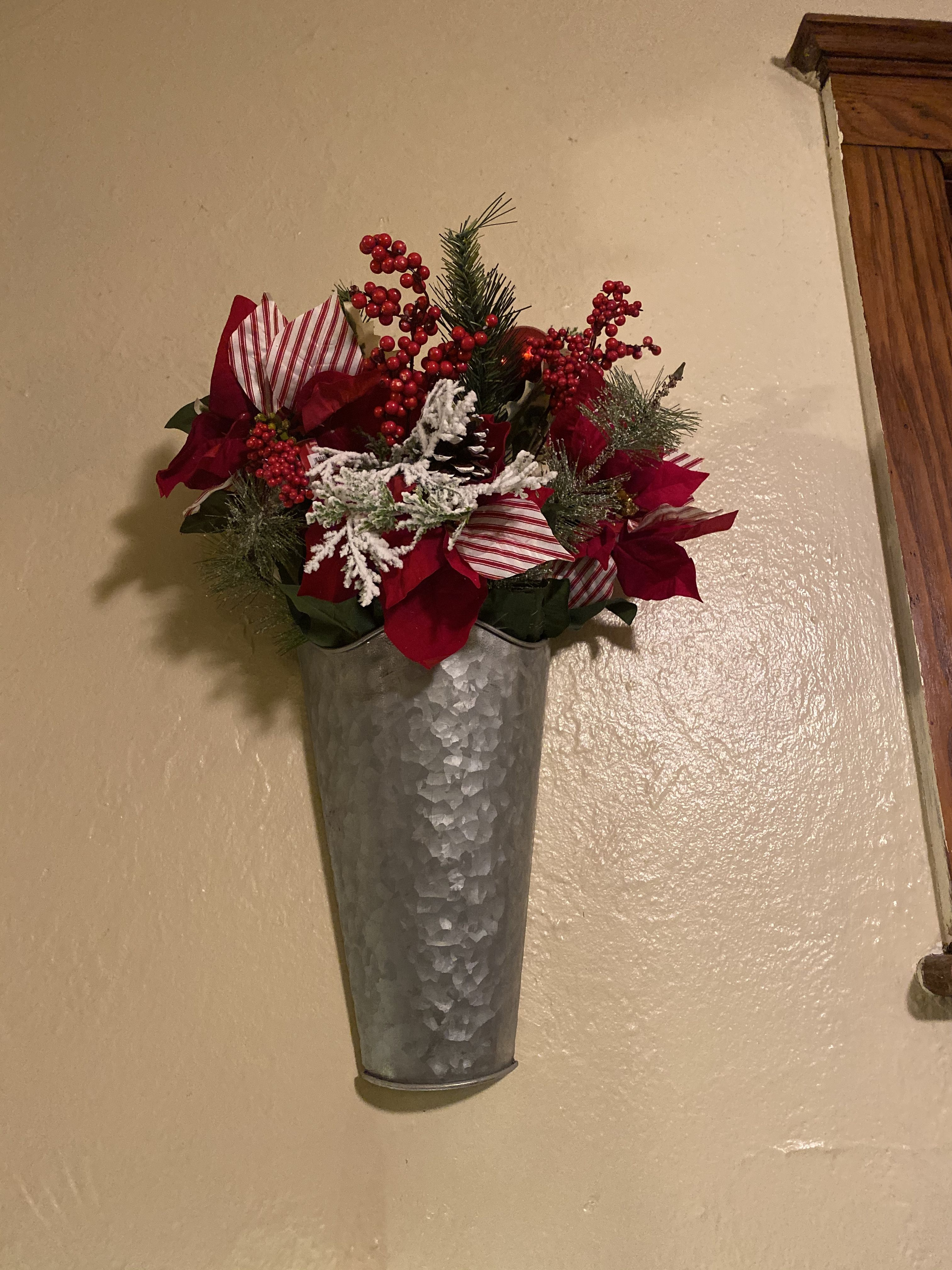 Holiday bundle with tin wall vase Wall vase, Flower