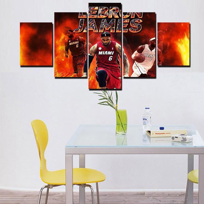 Nba Lebron James Of Cavaliers Sports 5 Panel Wall Art Canvas Print Canvas Wall Decor Wall Art Canvas Prints Canvas Art Wall Decor