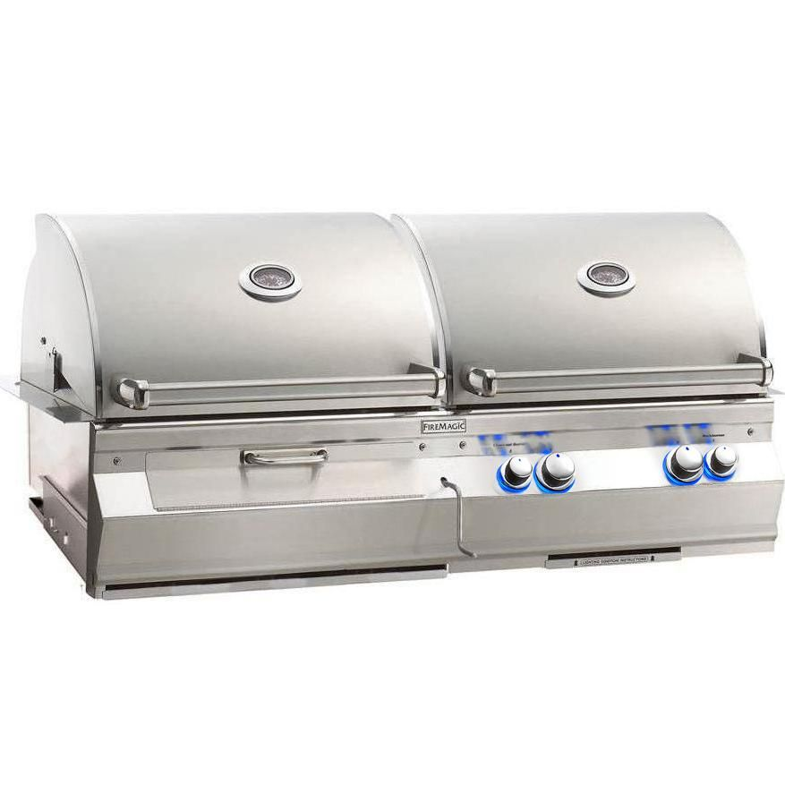 Fire Magic Aurora A830i 46 Inch Built In Propane Gas And Charcoal Combo Grill With Rotisserie A830i 6eap Cb Gas Charcoal Grill Built In Grill Grilling