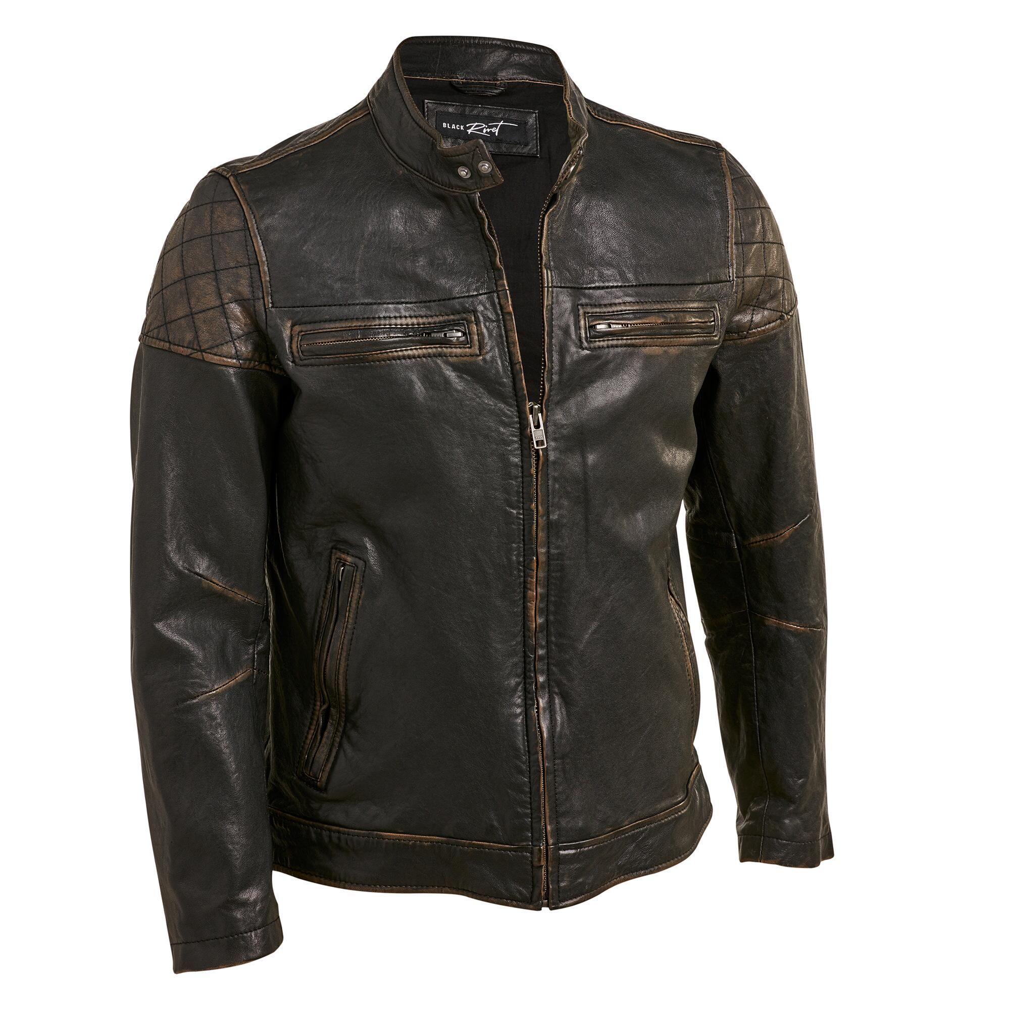 d2dd79a512 Black Rivet Leather Jacket w/ Shoulder Diamond Quilting | Suits ...