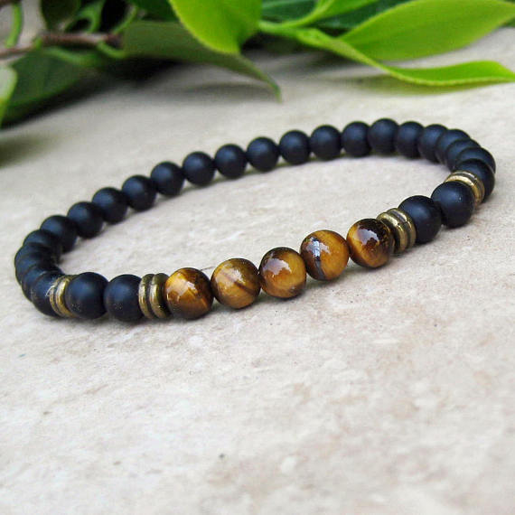 Woman Matte Onyx Bracelet Yoga Bracelet Man BLUE AGATE and Onyx Gemstone Bracelet Stretch Bracelet Unisex Beaded