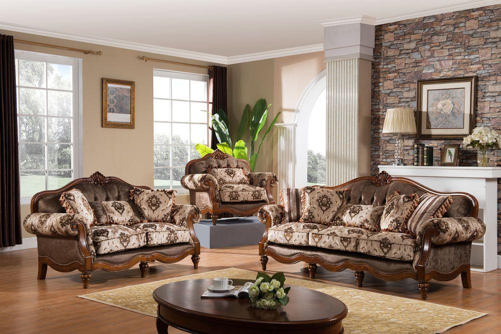 New Victorian High End Sofa Love Seat &Chair Formal Living Room Furniture Set Handm…   Living ...