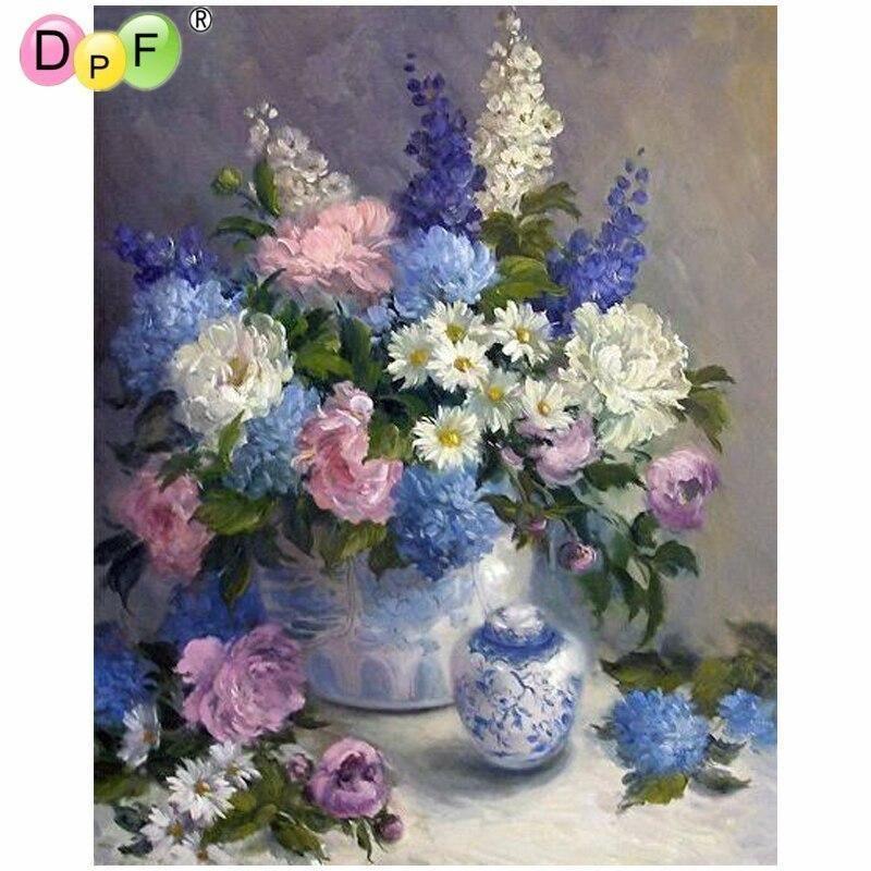 5D Diamond Painting Lavender Flower Vase Bouquet Kit