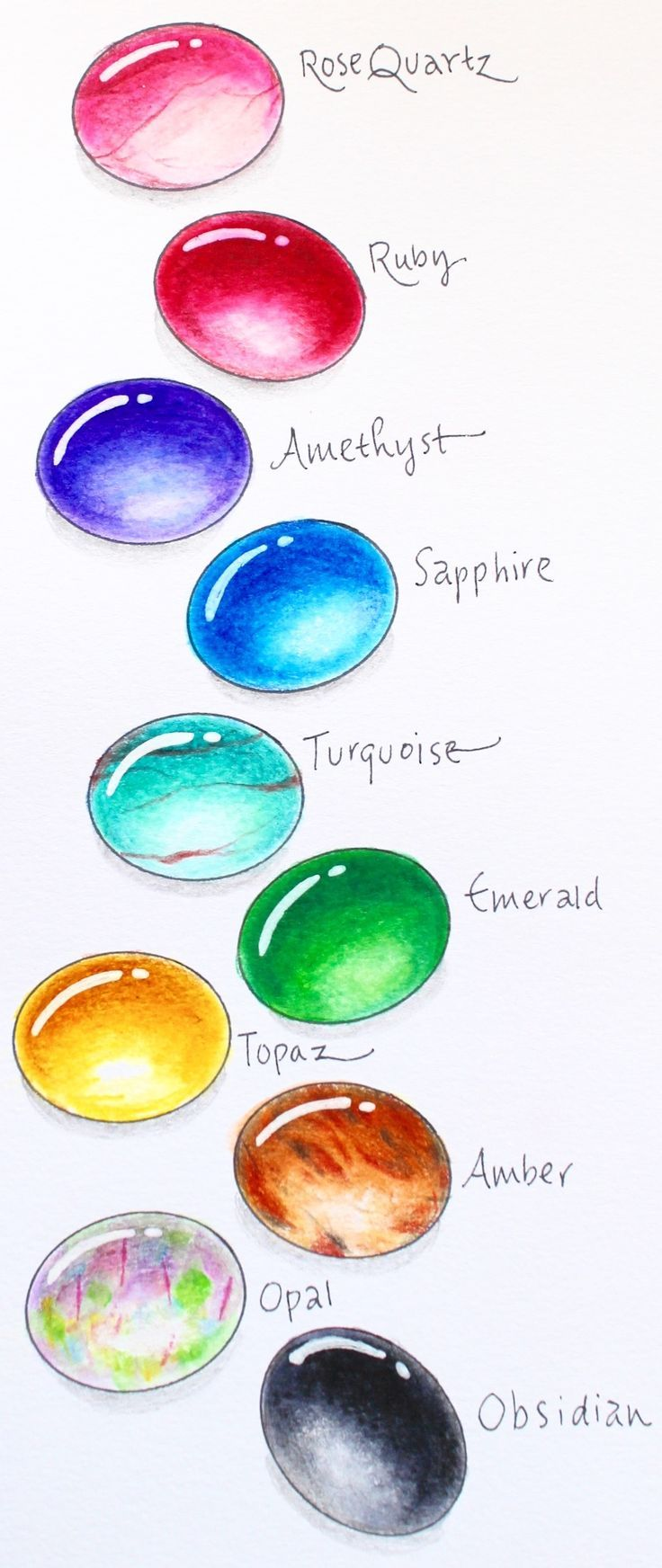 How to draw gems with markers and colored pencils step by step tutorial from tombowusa and mariebrowning1