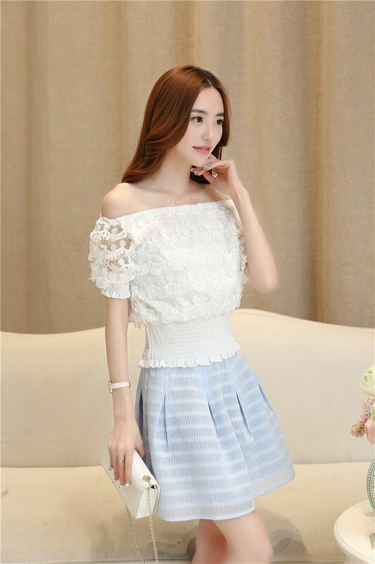 Chiffon Lace top and Skater Skirt Set Wear (KR047053) Find more @ www.lastyle520.com