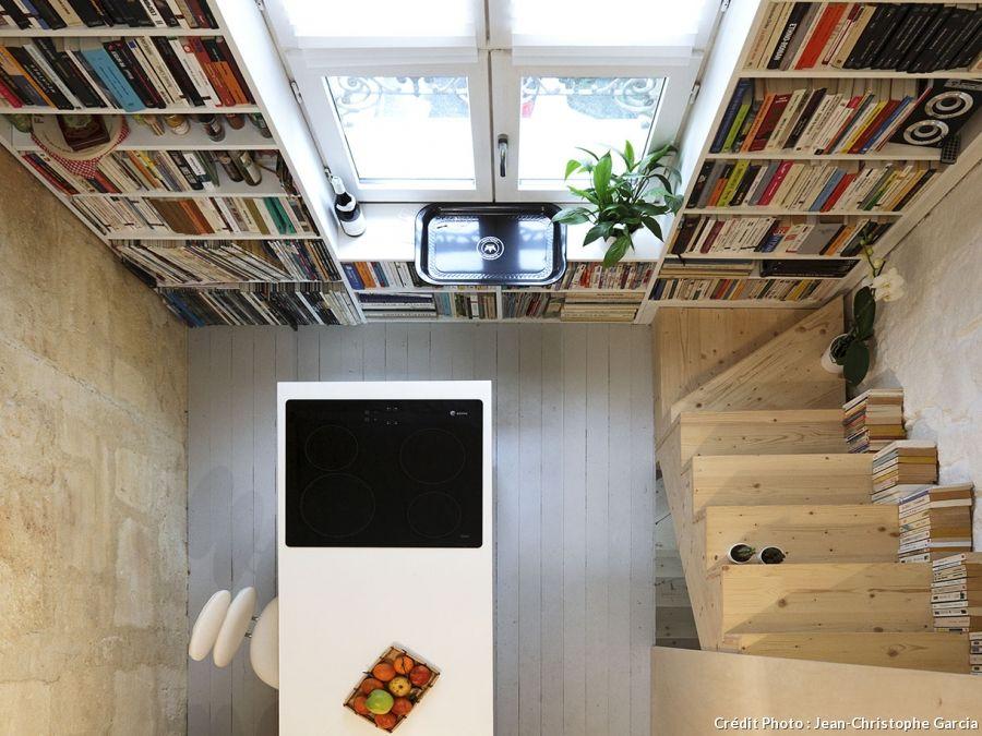 am nager une maison de ville haute et troite biblioth que tag res pinterest maison. Black Bedroom Furniture Sets. Home Design Ideas