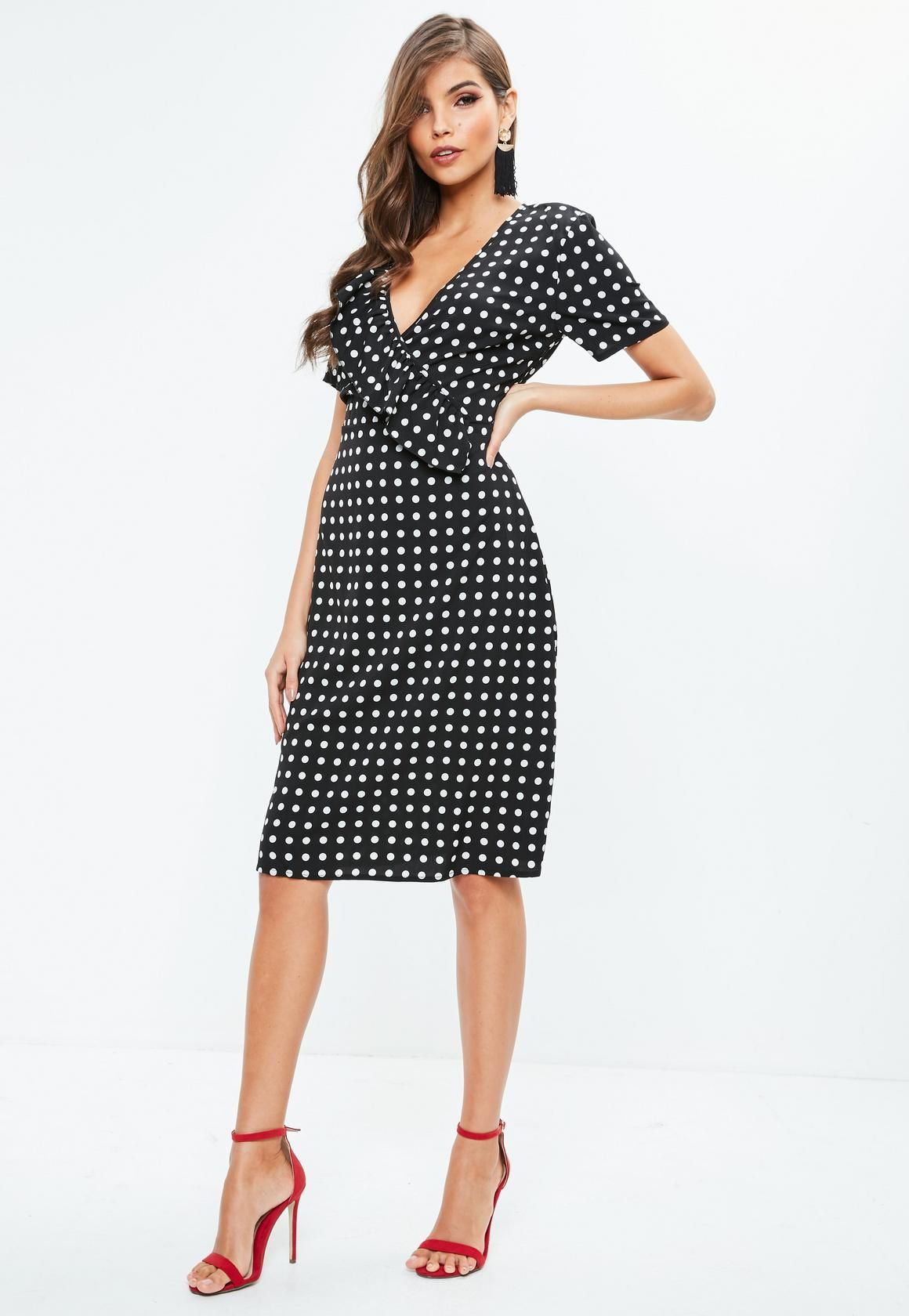 ac89268544 Missguided - Black Polka Dot Midi Skater Dress