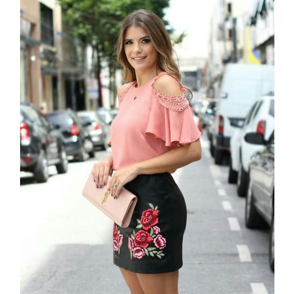 9d6f04910e BLUSA OMBRO VAZADO RENDA - Moda Feminina Santa Santina