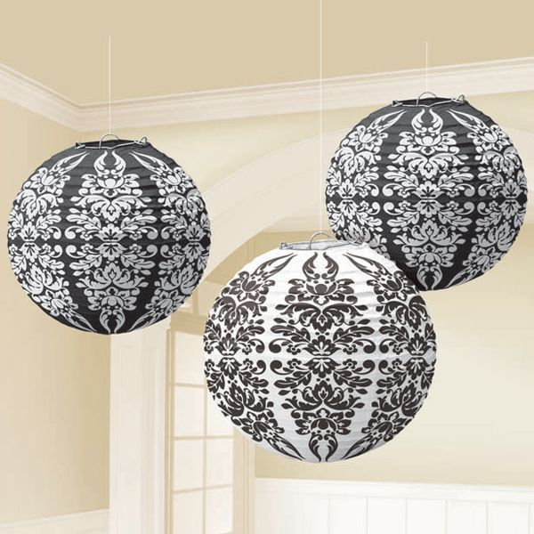 Paper Lanterns Walmart Entrancing Black Damask Paper Lanterns  Damasks Paper Lanterns And Bridal Showers Inspiration Design