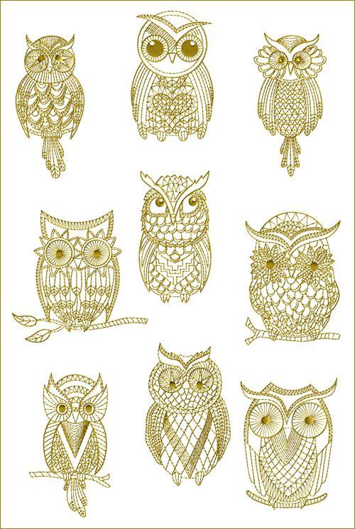 golden owls machine embroidery designs tattoos pinterest ugler broderi og sten. Black Bedroom Furniture Sets. Home Design Ideas