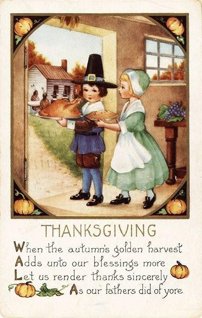 Whitney Pilgrim Couple Pumpkin Border Thanksgiving Emb Vtg Antique Postcard