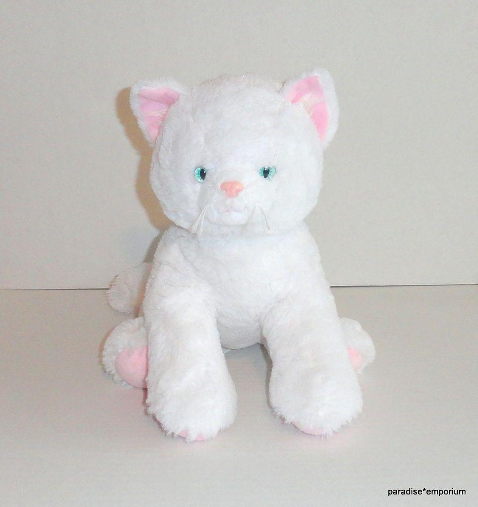 45743c97974 Build a Bear White Cat Plush CREAM PUFF KITTY Pink Paws Blue Eyes   BuildABear  stuffedanimals  toys  cats